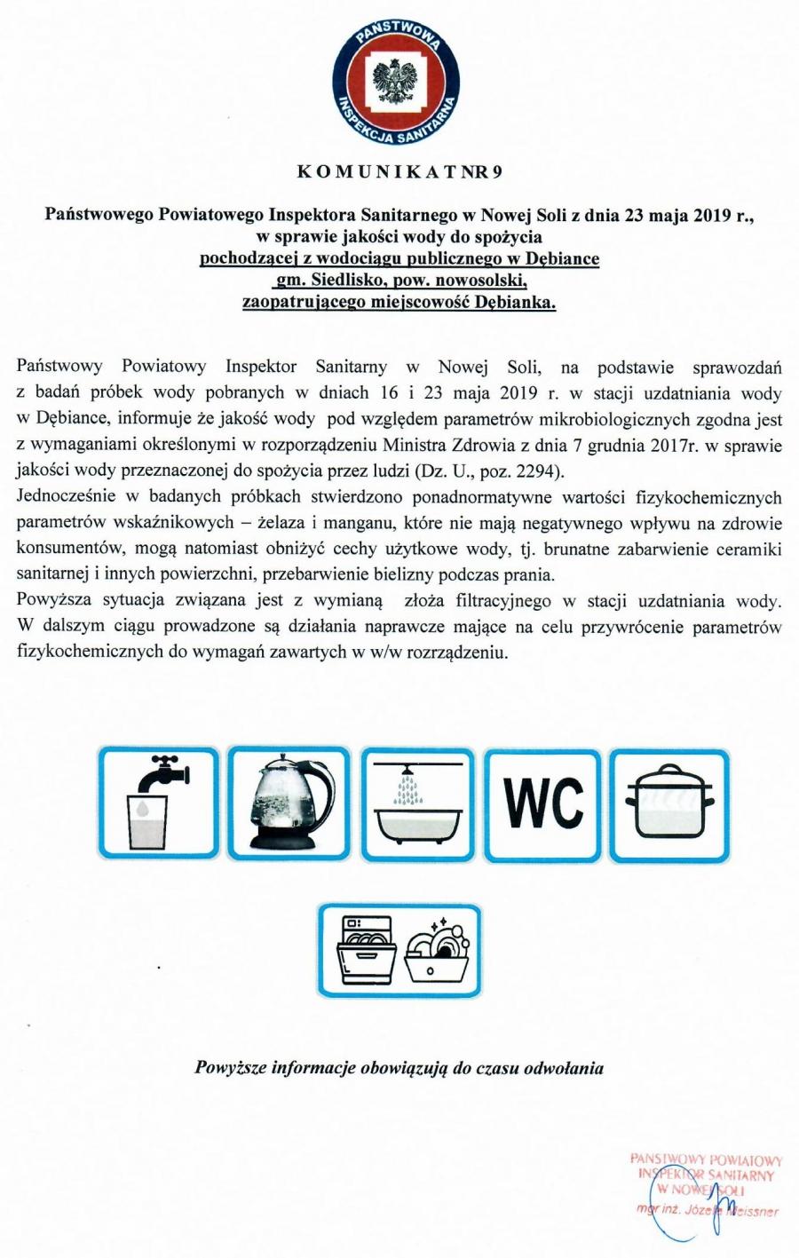 Strona edukacyjna PSSE w Nowej Soli - Komunikat nr 9, z dnia